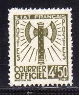 FRANCIA FRANCE 1942 1943 SERVICE SERVIZIO COURRIER OFFICIEL 4.50f MNH - Service
