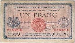 Francia - France 1 Franc 15-6-1922 Lyon Ref 3315-2 - Cámara De Comercio