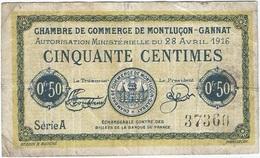 Francia - France 50 Centimes 28-4-1916 Montluçon - Gannat Ref 35 - Camera Di Commercio