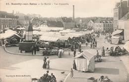 10 Romilly Sur Seine Le Marché Vue D' Ensemble Cpa Carte Animée - Romilly-sur-Seine