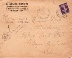 Recommandé 1909 - Entête C.BORDIN à Paris & Cachet Sur Semeuse 35c Violet : Au Dos Cachet Paris 10 - Chargements - Marcophilie (Lettres)