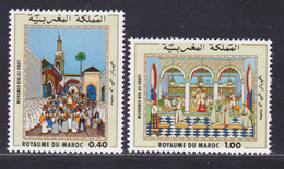 MAROC N°  825 & 826 ** MNH Neufs Sans Charnière, TB (D8977) Peintre Marocain Mohamed Ben Ali Rbati - 1979 - Morocco (1956-...)
