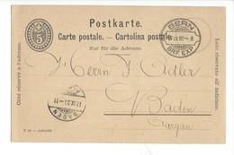 22009 - Bern Kantonalbank Von Bern Pour Baden 17.09.1900 - Entiers Postaux