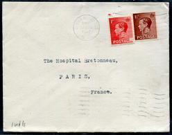 """GRANDE BRETAGNE - N° 206 & 207 / PERFORE """" SLD """" AVEC OM UPPER EDMONTON LE 12/2/1937 POUR PARIS - B - 1902-1951 (Re)"""