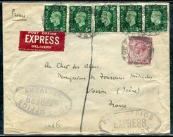 GRANDE BRETAGNE - N° 209 (5) + 167 / LETTRE EXPRESS DU 20/4/1939 POUR LA FRANCE - B - Storia Postale