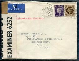 GRANDE BRETAGNE - N° 214 + 222 / LETTRE AVEC OM D'HUDDERSFIELD LE 8/7/1941 POUR LES USA, AVEC CENSURE - TB - 1902-1951 (Kings)