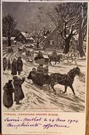Cpa,Montréal,H.Julien Illustrateur,returning From Church, Canadian Winter Scene, écrite En 1905, Timbre - Montreal