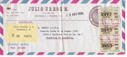 JULIO URBOZ M. AIRMAIL COMMERCIAL ENVELOPPE RECOMMANDE CIRCULEE 1990 TO ARGENTINE - BLEUP - Honduras