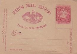 ENTIER STATIONERY DOS CENTAVOS FAJILLA PARA IMPRESOS MEXICO CIRCA 1890s - BLEUP - Messico