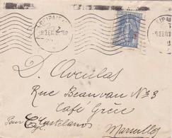 ENVELOPPE CIRCULEE 1917 GRECE A MARSEILLE FRANÇAISE YEAR 1917 - BLEUP - Greece