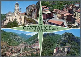 °°° Cartolina N. 37 Saluti Da Cantalice Vedutine Viaggiata °°° - Rieti