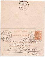 1901 - Entier Postal Type Mouchon 15c Orange / Cachet Paris XVI  Pl. CHOPIN - Enteros Postales