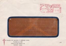 MACHINE D'AFFRANCHISSEMENT ENVELOPPE COMMERCIAL BANCO GALICIA Y BUENOS AIRES CIRCULEE 1975 - BLEUP - Argentina