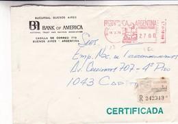 MACHINE D'AFFRANCHISSEMENT ENVELOPPE COMMERCIAL BANK OF AMERICA CIRCULEE 1976 BUENOS AIRES RECOMMANDE  - BLEUP - Argentina