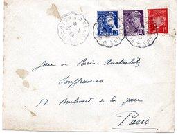 """LSC 1943 - Ambulants - Cachet Convoyeur """" VIERZON à ORLEANS Sur YT 546 & YT 548 & YT 514 - Railway Post"""