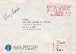 MACHINE D'AFFRANCHISSEMENT ENVELOPPE COMMERCIAL BANCO SUPERVIELLE SOCIETE CIRCULEE 1984 BUENOS AIRES RECOMMANDE  - BLEUP - Argentina