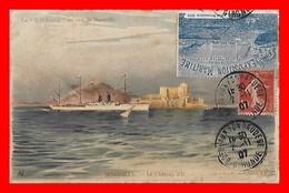 """CPA Paquebot Le """" TOURANE """" En Vue De Marseille, Château D'If, Vignette De L'exposition Maritime De Bordeaux 1907...D613 - Piroscafi"""