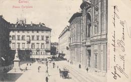 TORINO-PIAZZA CARIGNANO-CARTOLINA VIAGGIATA IL 5-6-1901 - Plaatsen & Squares