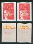 N° 3084a**_type I Et Type II_ N° Rouge Verso_deux Nuances-ombres-cheveux_(121217) - 1997-04 Marianne Du 14 Juillet