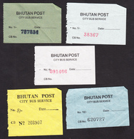 BHUTAN 5x Bus Ticket Around 2008 City Bus Services (Thimphu), Managed By Bhutan Post - Bus