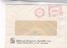 MACHINE D'AFFRANCHISSEMENT ENVELOPPE COMMERCIAL EDITORIAL BRUGUERA ARG CIRCULEE 1977 BUENOS AIRES  - BLEUP - Storia Postale