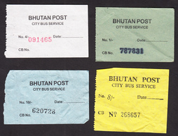 BHUTAN 4x Bus Ticket Around 2008 City Bus Services (Thimphu), Managed By Bhutan Post - Bus