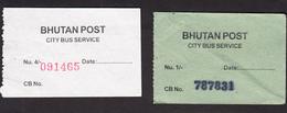 BHUTAN 2x Bus Ticket Around 2008 City Bus Services (Thimphu), Managed By Bhutan Post - Bus