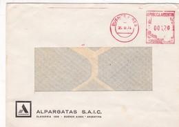 MACHINE D'AFFRANCHISSEMENT ENVELOPPE COMMERCIAL ALPARGATAS SAIC CIRCULEE 1974 BUENOS AIRES  - BLEUP - Argentina