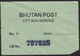 BHUTAN 1x Bus Ticket Of Nu. 1.- Around 2008 Of The City Bus Services (Thimphu), Managed By Bhutan Post - Mondo