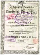 Titre Ancien - Compagnie Auxiliaire De Chemins De Fer Au Brésil - Titre De 1905 - Chemin De Fer & Tramway