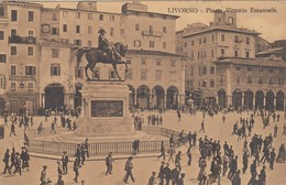 LIVORNO-PIAZZA VITTORIO EMANUELE-ANIMATISSIMA-CARTOLINA VIAGGIATA IL 4-10-1911 - Livorno