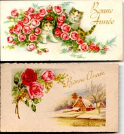 2 Jolies Minis Cartes De Voeux Anciennes Environ 10,5 Cm X 6,5 Cm Très Bon Etat - France