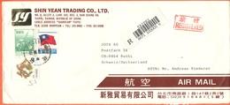 Taiwan - Republic Of China - 1994 - 3 Stamps - Registered - Airmail - Viaggiata Da Taipei Per Ruthi, Suisse - 1945-... República De China