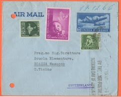 INDIA - 1966 - 90 NP + 10 + 15 Children's Day + 15 + Flamme - Air Mail - Don Bosco - Viaggiata Da Matunga Per Soazza, Su - Buste