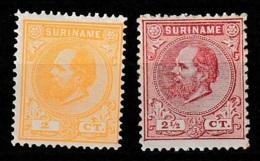 Suriname 1873-1889 Koning Willem III NVPH 2 + 3, Ongestempeld. No Gum. - Suriname ... - 1975