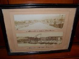CADRE ANCIEN AVEC  PHOTO ANCIENNE 1880,ILE DE LA REUNION ET ILE MAURICE,DEBARCADERE,MAURITIUS,ILE BOURBON,RARE, - Orte