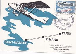 PARIS - SAINT-NAZAIRE - 17 Août 1918 - 1ère Liaison Postale Aérienne Régulière Carte Maximum 50è Anniversaire 17-08-1968 - Aviation