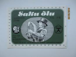 ESTONIA , BEER LABEL , ETHNIC BAGPIPE PLAYER  FOLK COSTUME   , 0 - Beer