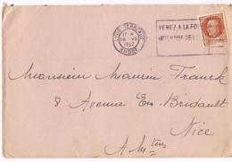 Flamme Flier - Lyon Terreaux -Venez à La Foire Internationale De Lyon- 18.VII.I1942 Avec Timbre Petain 1F,50 - - Postmark Collection (Covers)