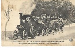 WW1 LE 147è DE LIGNE ALLEMAND SOLDATS SUR TRACTEUR TRANSPORTANT DES OBJETS VOLES CPA 2 SCANS - Guerre 1914-18