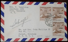 O) 1954 CIRCA - COLOMBIA, RUIZ MOUNTAIN OVERPRINTE AIRPLANE UNIFICADO- NEVADO, FROM CALI TO USA, XF - Colombia