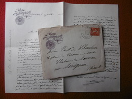 AIX LES BAINS LETTRE ILLUSTRÉE CERCLE CASINO GOLF SAVOIE 1908 CACHET TIMBRE SEMEUSE - Marcophilie (Lettres)