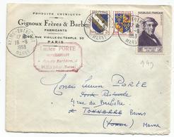 SURTAXE 20FR N°949+ BLASON 2FR+3FR LETTRE REIMS ENTREPOT 16.9.1953 POSTE RESTANTE PAYEE PAR EXPEDITEUR AU TARIF - Postmark Collection (Covers)