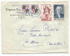 SURTAXE 18FR N°948+843 + BLASON 50CX2 LETTRE REIMS GARE 1953  POSTE RESTANTE PAYEE PAR EXPEDITEUR AU TARIF - Postmark Collection (Covers)
