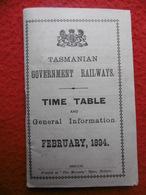 TASMANIE CHEMIN DE FER CARTE TASMANIAN GOVERNMENT RAILWAYS TIMETABLE AND GENERAL INFORMATION 1894 - Mundo