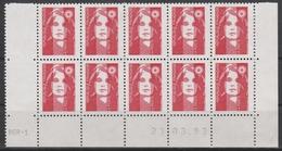 2806  TVP BRIAT ROUGE - DEMI BAS De FEUILLE X 10 - RGR1 Du 23.3.93 - - 1989-96 Maríanne Du Bicentenaire