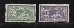 France Type Merson De 1907 N°143 Et 144  Neufs * Cote 36€ - 1900-27 Merson
