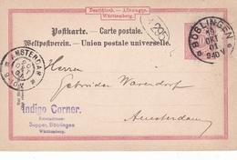 Germany 1901 Indigo Corner Boblingen To Amsterdam 10pfg Wurtemmburg Postal Stationary Postcard - Germany