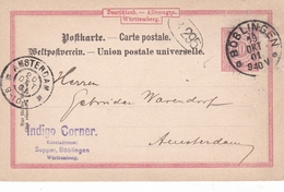 Germany 1901 Indigo Corner Boblingen To Amsterdam 10pfg Wurtemmburg Postal Stationary Postcard - Covers & Documents