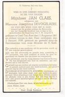 DP Jan Claes ° Ten Aard Geel 1861 † 1939 X Josephina Devogelaere - Images Religieuses